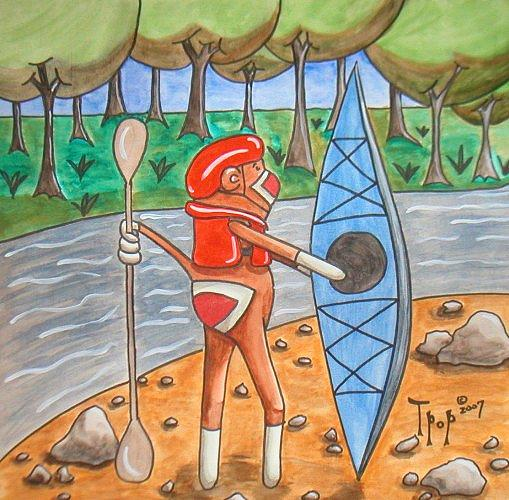 Sock Painting - Kayak Sock Monkey by TPop