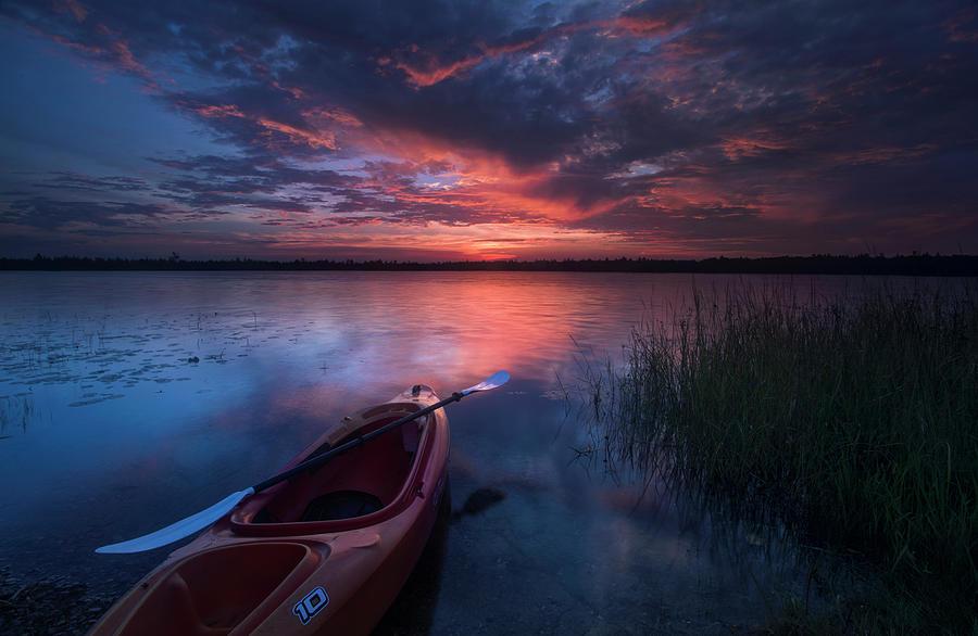 Marl Lake Photograph - Kayak Sunrise by Ron Wiltse