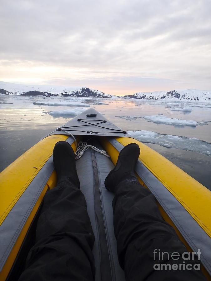 Kayaking Antarctica Ice Field Vertical Photograph