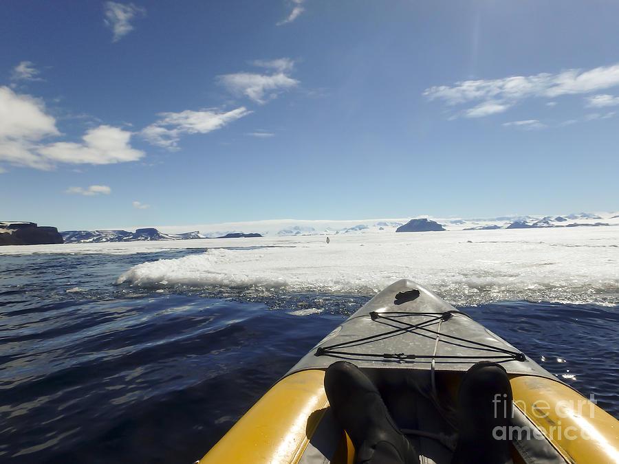 Kayaking Fast Ice, Gustaf Sound, Antarctica Photograph