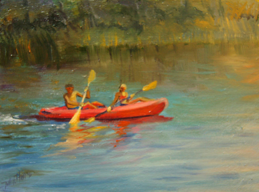 Oil Painting Painting - Kayaking Watercolor Lake by Jill Holt
