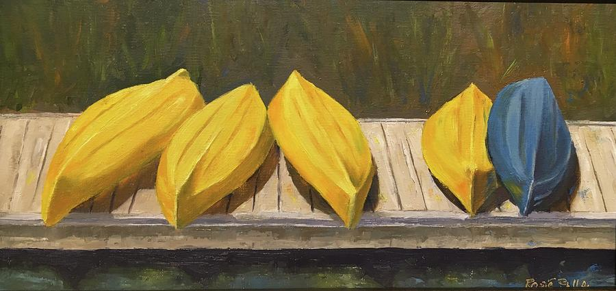 Kayaks On The Dock Painting by Rosie Phillips
