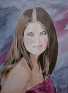 Blue Pink Painting - Kayla by Lori  L