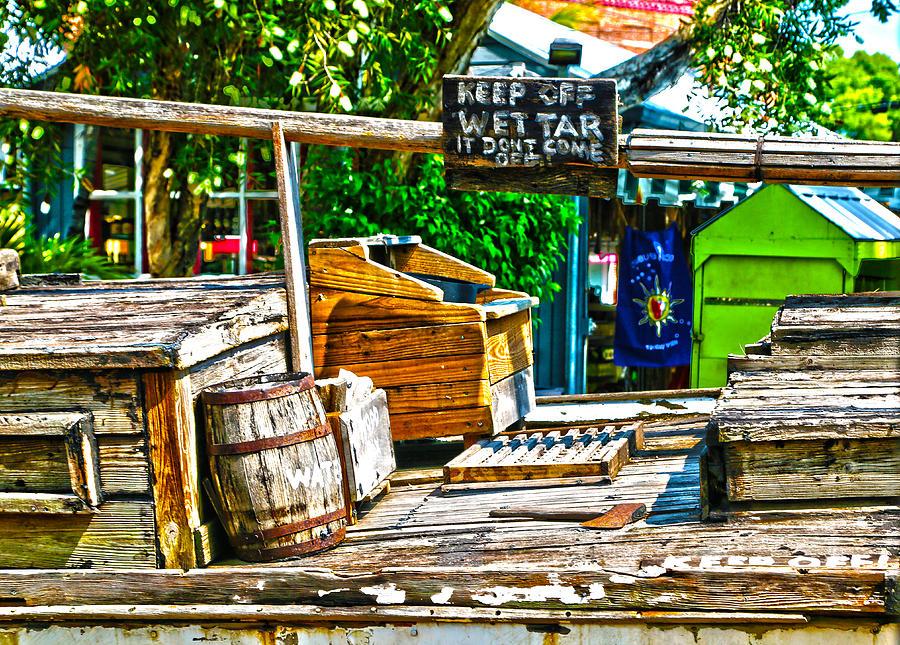 Key West Photograph - Keep Off Wet Tar It Dont Come Off Key West Florida by Lee Vanderwalker