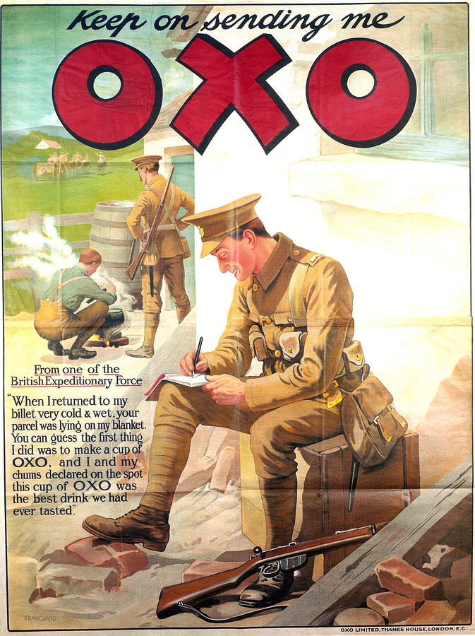 Keep On Sending Me Oxo - Beef Cubes - Vintage Drinks Advertising Poster - Soldier Mixed Media