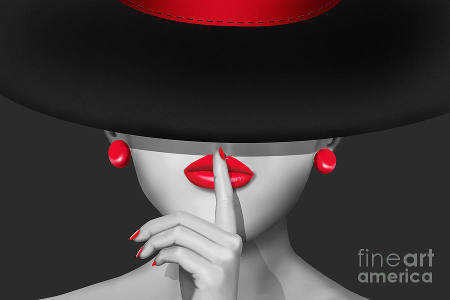 Lady Painting - Keep Quiet by Monika Juengling