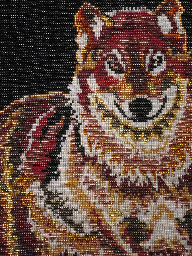 Beads Tapestry - Textile - Keepers Spirit - Wolf by MARYBETH Earls