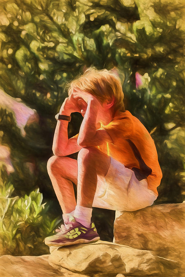 Boy Digital Art - Keeping Lookout by John Haldane