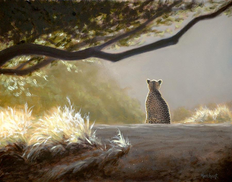 Cheetah Painting - Keeping Watch - Cheetah by Linda Merchant