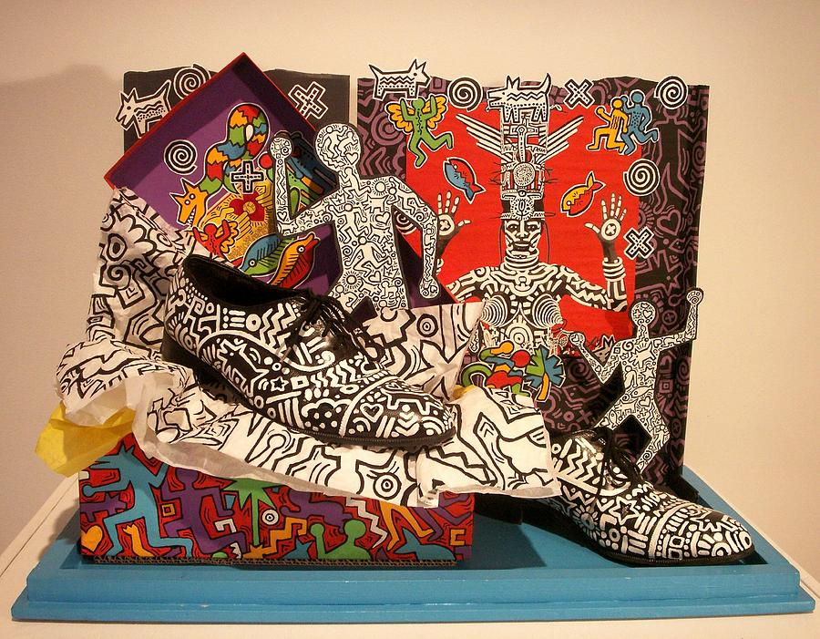 Icons Painting - Keith Haring Steps Out by Robert Quijada