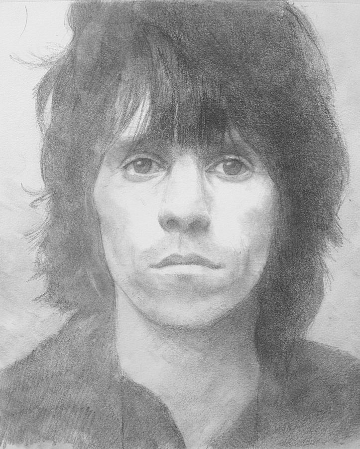 Portrait Drawing - Keith Richards 72 by Glenn Daniels