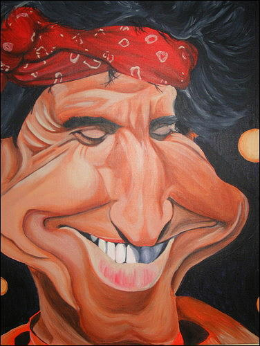 Celeb Caricatures Painting - Keith Richards Caricature by Sean Leonard