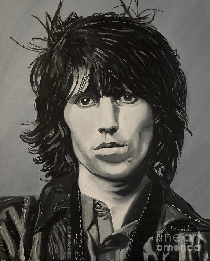 Portrait Painting - Keith Richards by Mary Capriole