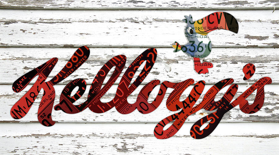 Kelloggs Mixed Media - Kelloggs Fruit Loops Cereal Michigan Vintage License Plate Art by Design Turnpike