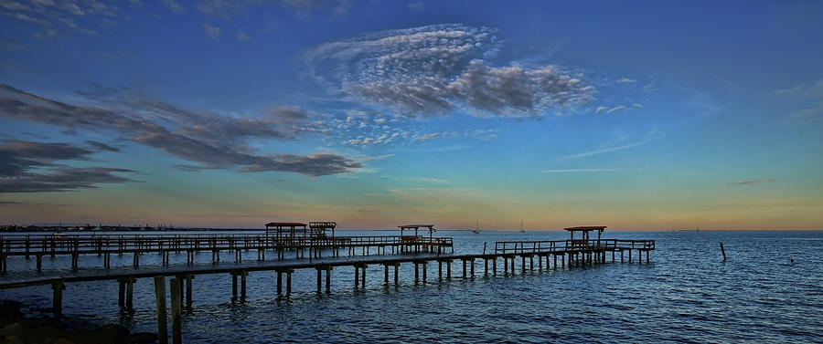 Kemah Evening Pano by Judy Vincent