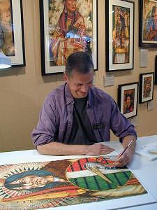 Watercolor Painting - Ken Ferguson At Work During The Celebration by Ken Ferguson