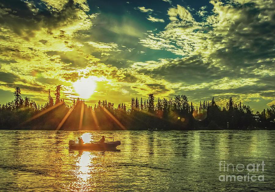 Kenai River King Salmon Fishing At Sunrise Photograph