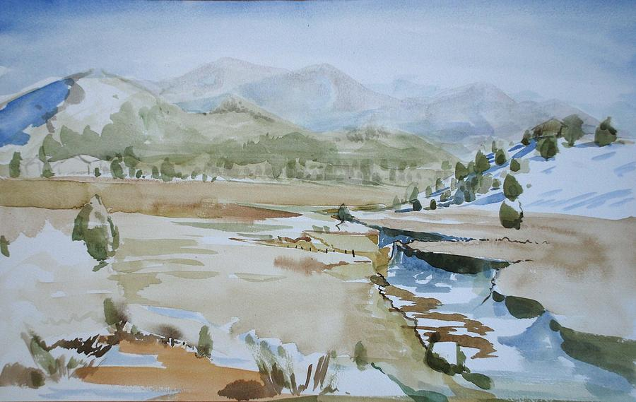 Kennedy Meadows Half In Winter Painting by Amy Bernays