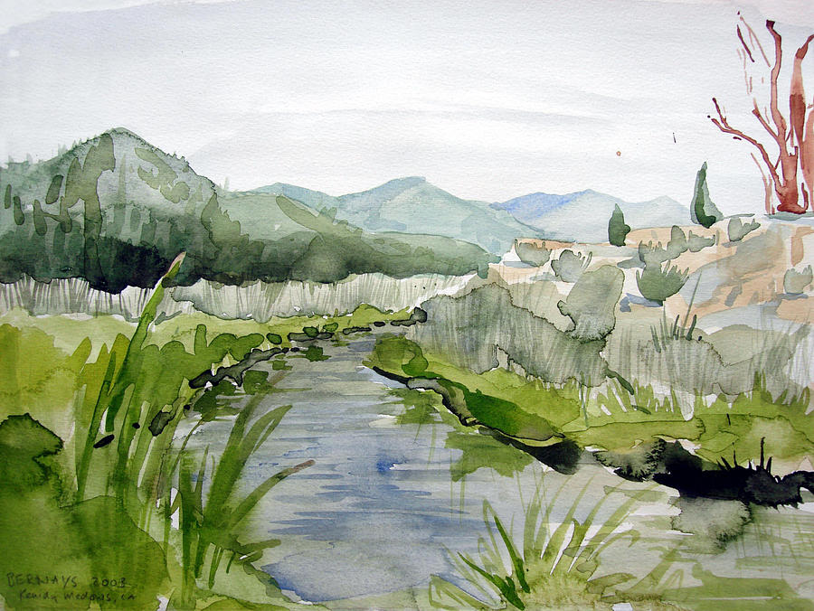 High Desert Landscape River Blue Mountains Outdoors Rural Wildlife Nature Painting - Kennedy Meadows River by Amy Bernays