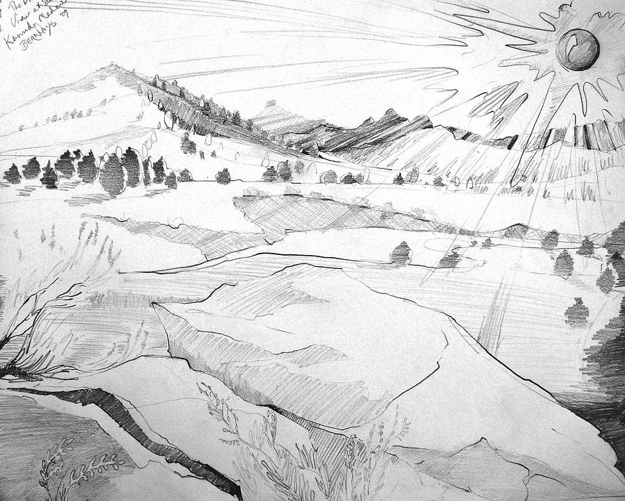Lanscape Black And White Mountains Nature Trees Pencil Realistic Drawing - Kennedy Meadows Sunset On A Winters Day by Amy Bernays
