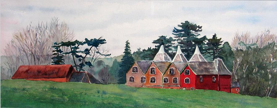Oast House Painting - Kent Country Houses by Debbie Homewood