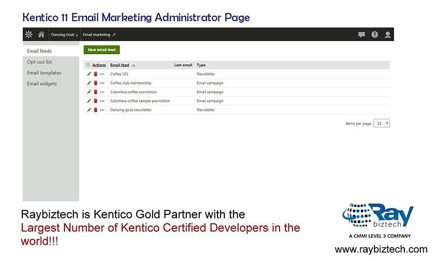 kentico 11 email marketing administrator panel raybiztech photograph