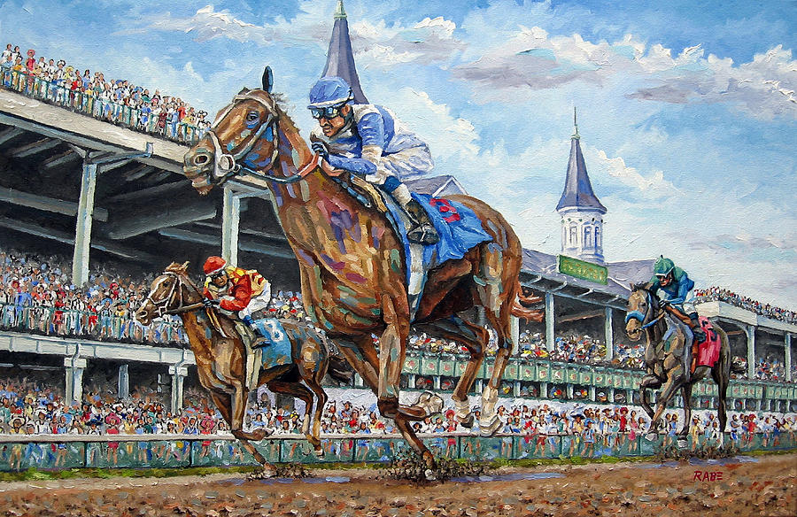 Kentucky Derby Painting - Kentucky Derby - Horse Racing Art by Mike Rabe