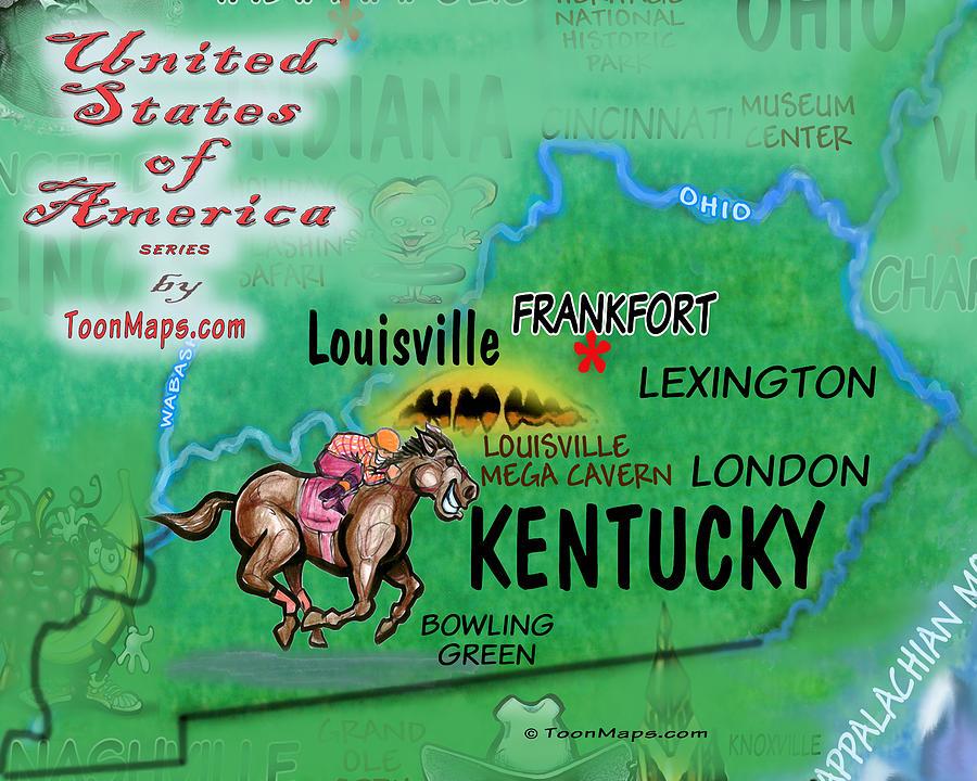 Kentucky Fun Map Digital Art
