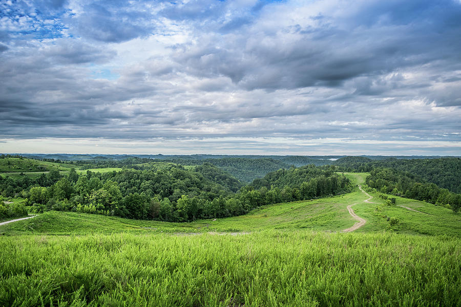 Landscape Photograph - Kentucky Hills And Clouds by Lester Plank