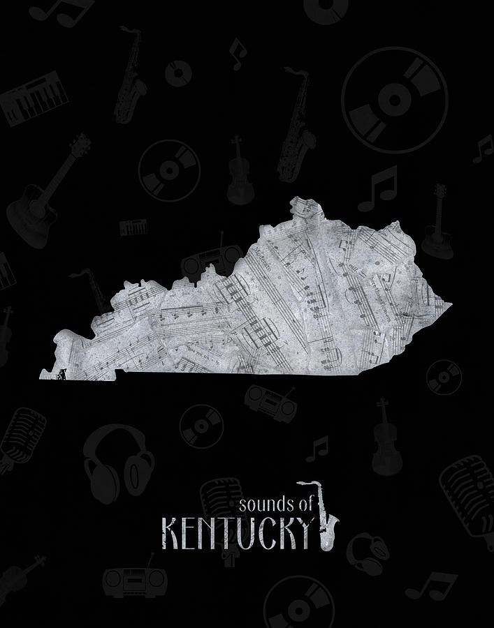 Kentucky Map Music Notes 2 Digital Art