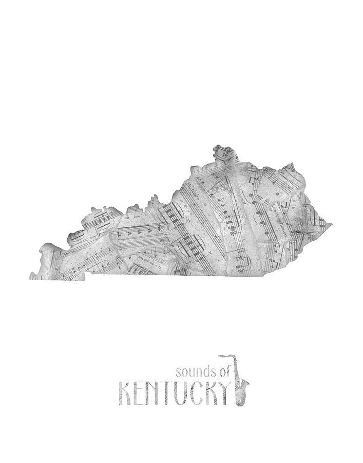 Kentucky Map Music Notes Digital Art