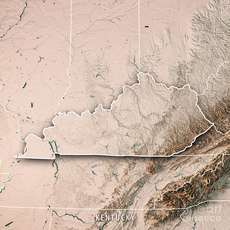 Kentucky State Usa 3d Render Topographic Map Neutral Border by Frank on black kentucky map, funny kentucky map, cartoon kentucky map, print kentucky map, 3d kentucky flag, 3d kentucky outline, 3d kentucky poster, hd kentucky map,