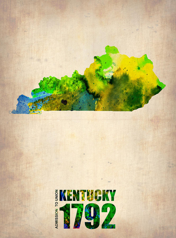 Kentucky Painting - Kentucky Watercolor Map by Naxart Studio
