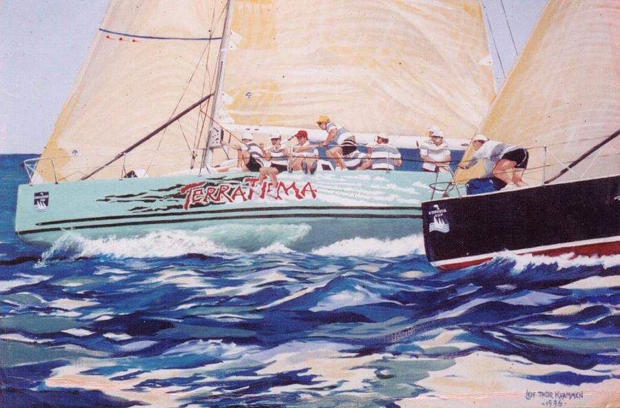Yacht Racing Painting - Kenwood Cup  by Leif Thor Kvammen