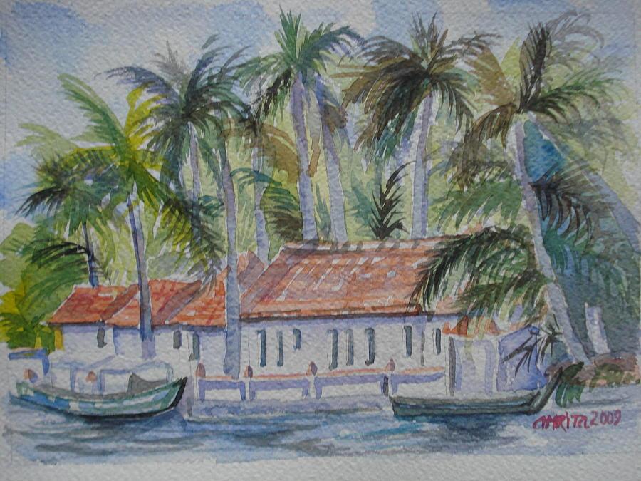 Backwaters Painting - Kerala Backwaters by Amrita Puntambekar