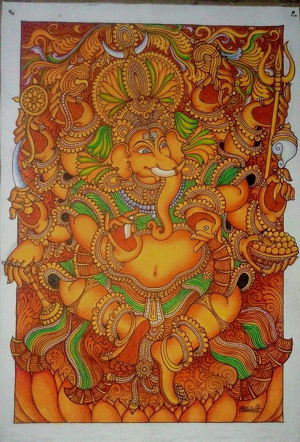 Kerala mural god ganesha painting by rahul kr for Mural art of ganesha