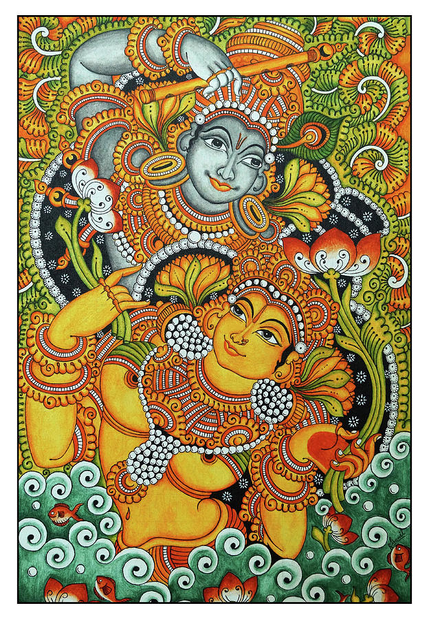 Kerala radha krishna mural painting painting by shamil art for Buy kerala mural paintings online