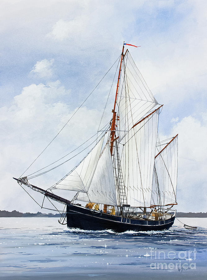 Ketch Rig Solvig Painting by James Williamson