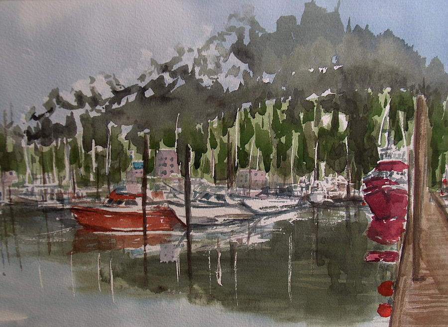 Marina Painting - Ketchican Marina by Pete Maier