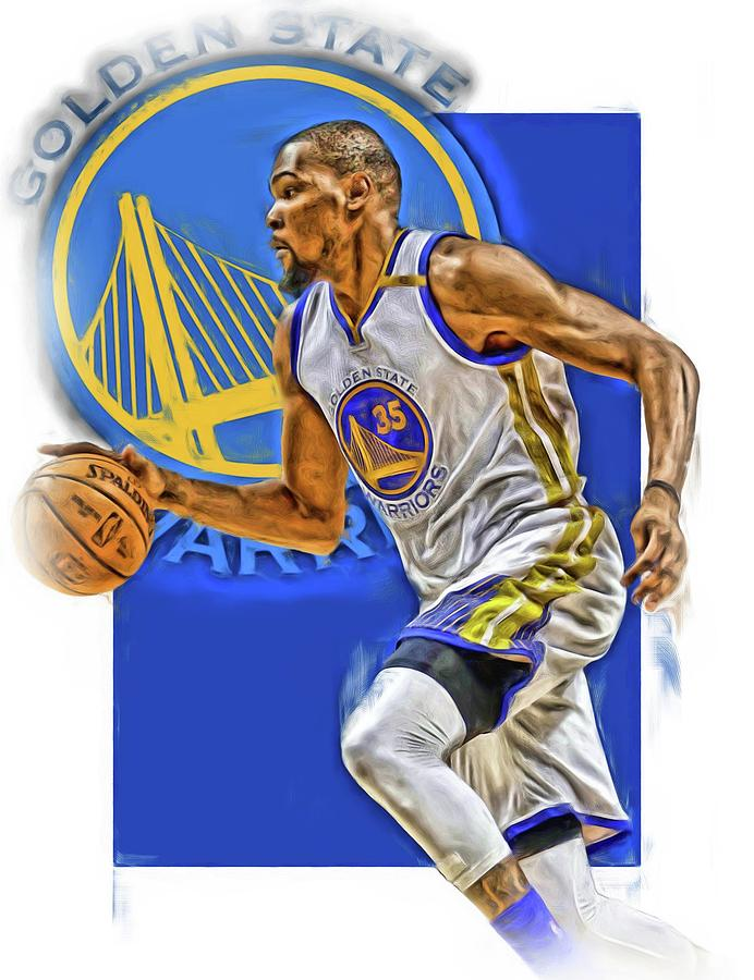 Kevin Durant Golden State Warriors Oil Art Mixed Media by Joe Hamilton