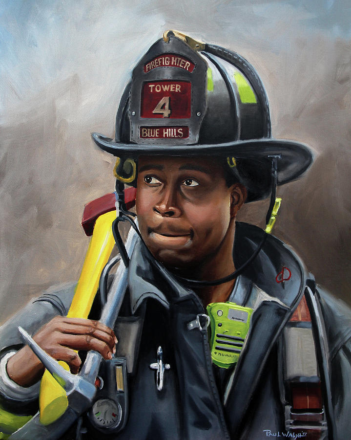 Firefighters Painting - Kevin by Paul Walsh