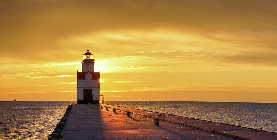 Lighthouse Photograph - Kewaunee Consummation by Bill Pevlor