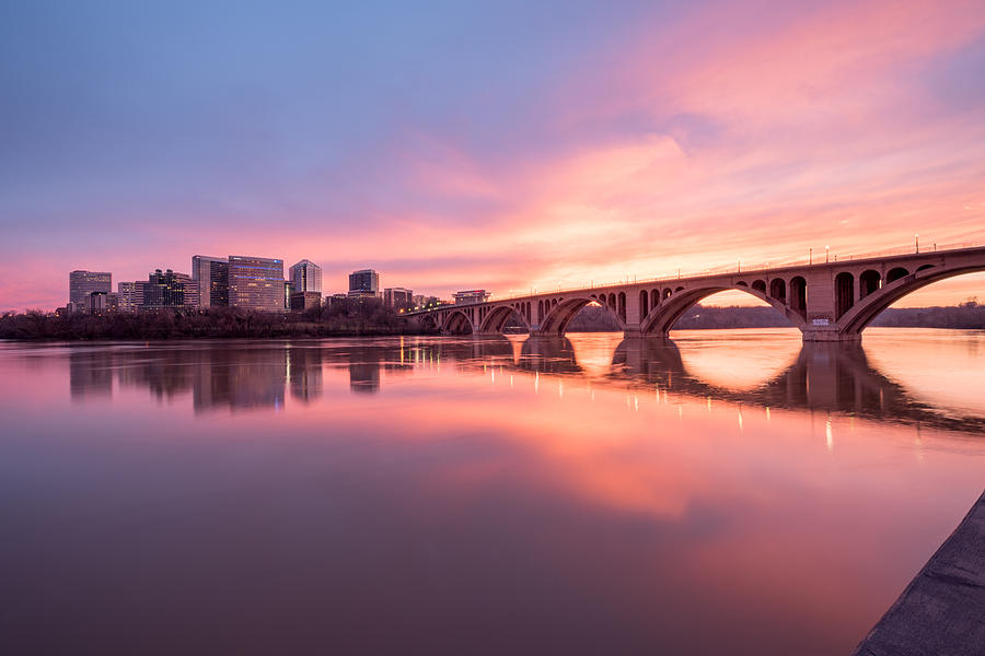 Alexandria Photograph - Key Bridge Sunset by Michael Donahue