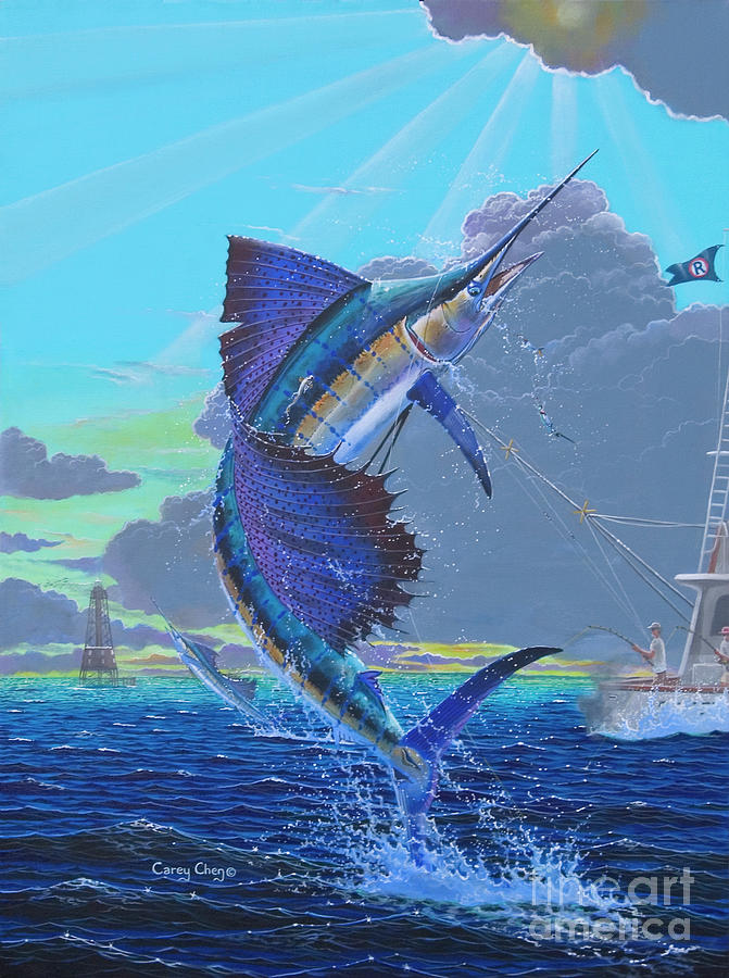 Sailfish Painting - Key Sail Off0040 by Carey Chen