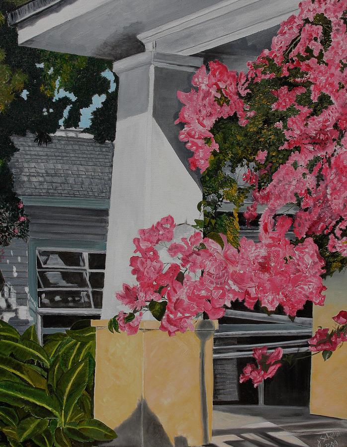 Key West Painting - Key West Bougainvillea by John Schuller