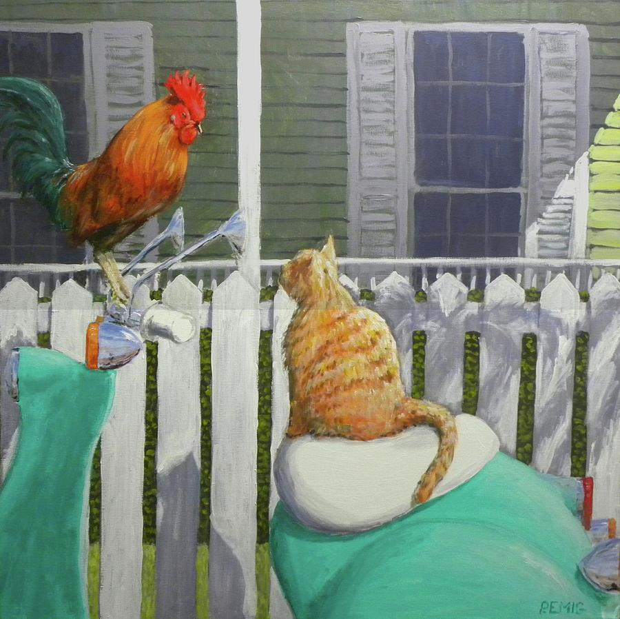 Rooster Painting - Key West Buddies by Paul Emig