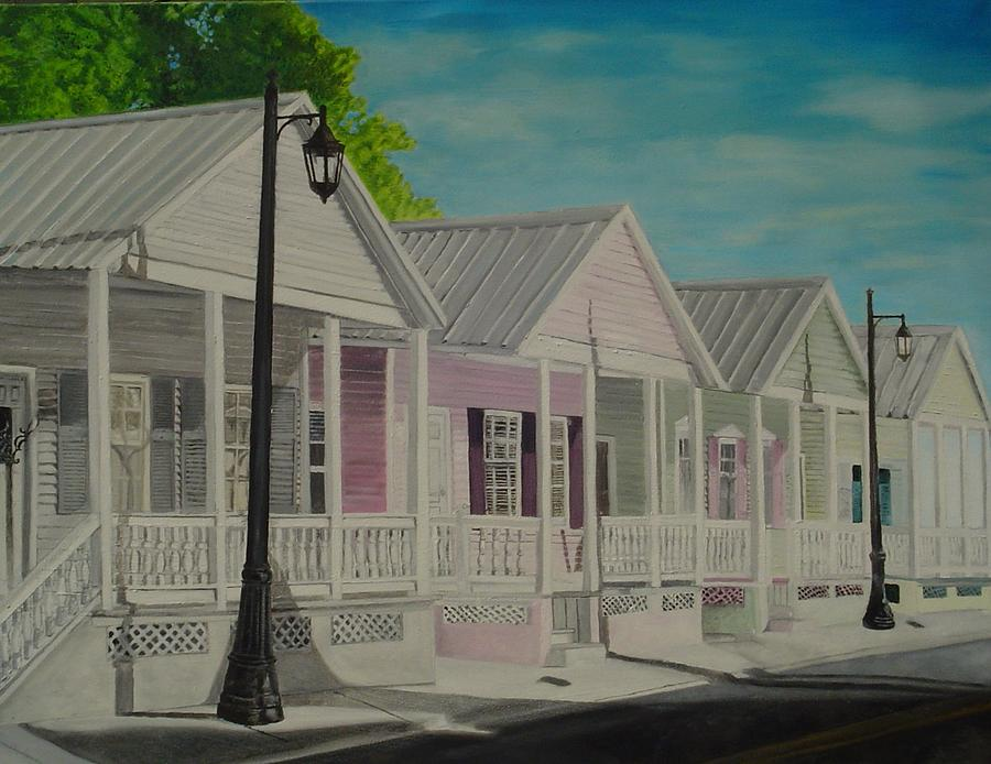 Key West Painting - Key West Cottages by John Schuller