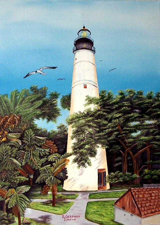 Lighthouse Painting - Key West Lighthouse by Riley Geddings
