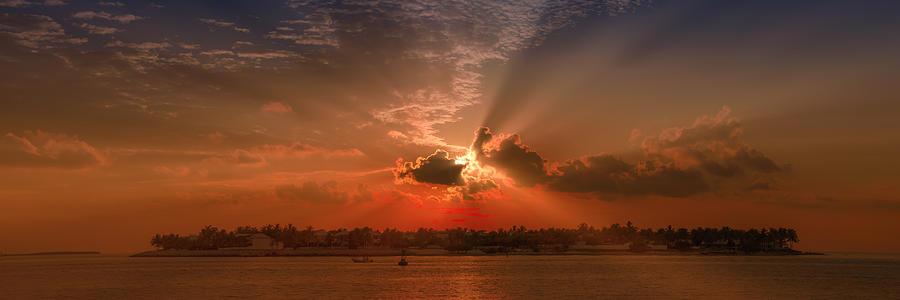 America Photograph - Key West Sunset Panoramic by Melanie Viola