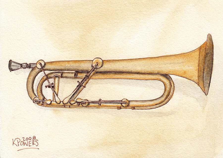 Trumpet Painting - Keyed Trumpet by Ken Powers